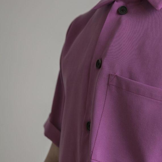 camisa tencel fucsia manga corta botones de semilla natural fabricados en Madrid