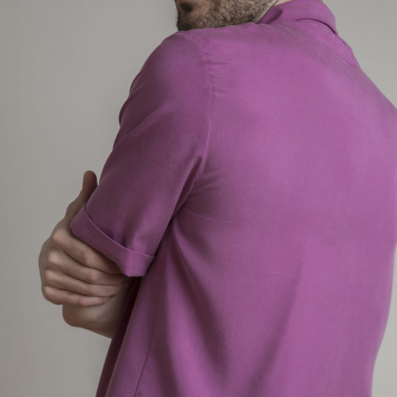 camisa tencel fucsia manga corta hombre