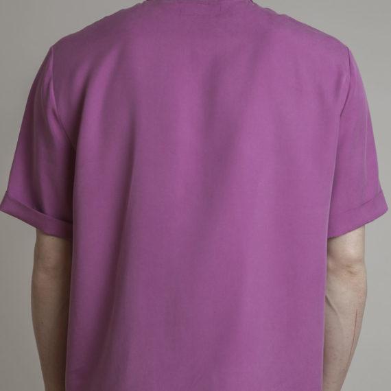 camisa tencel fucsia manga corta