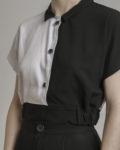 cropped top bicolor cuello negro dentalero