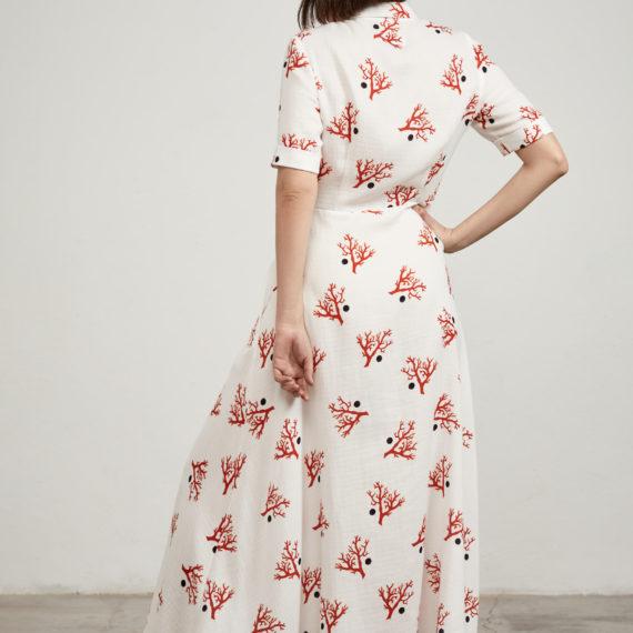 vestido camisero coral