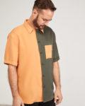 camisa tencel bicolor